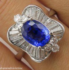 4.30ct Estate Vintage Blue Sapphire Diamond by DiamondViolet