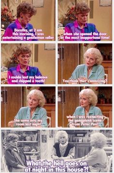"When Rose and Blanche revealed what they secretly do at night. 50 Brilliant ""Golden Girls"" Moments That Are Literally Hysterical Estelle Getty, Betty White, Tv Quotes, Girl Quotes, Movie Quotes, Crush Quotes, Golden Girls Quotes, Golden Girls Funny, The Golden Girls"