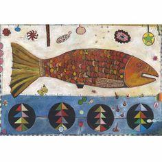 """Fish """"Golda"""", Mixed Media Original Painting by Jill Mayberg"""