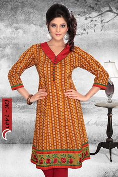 STYLISH COTTON PRINTED KURTI FOR WOMEN by Snehal Creation. Majestic Mustered Color Cotton Fabric Stylish Cotton Printed Kurti for Women having Button pattern at neckline with embroidery panel at daaman. Colors Available.