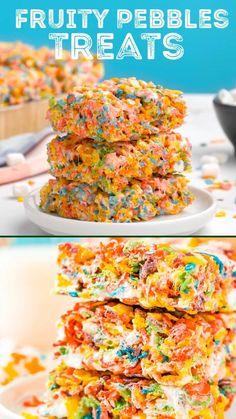 Fun Baking Recipes, Cereal Recipes, Snack Recipes, Dessert Recipes, Fruity Pebbles Treats, Fruity Pebbles Cereal, Recipes With Fruity Pebbles, Fruity Pebble Bars, Fruity Pebble Cheesecake