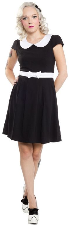 SOURPUSS LIZZIE DRESS BLK This adorable, little number from Sourpuss is a must for any Lolita's closet with its jet black, vintage-inspired body, bright white peter pan collar & darling bow waistband. Simple and sweet!  Please see size chart for sizing!  65% Cotton/32% Nylon/3% Spandex
