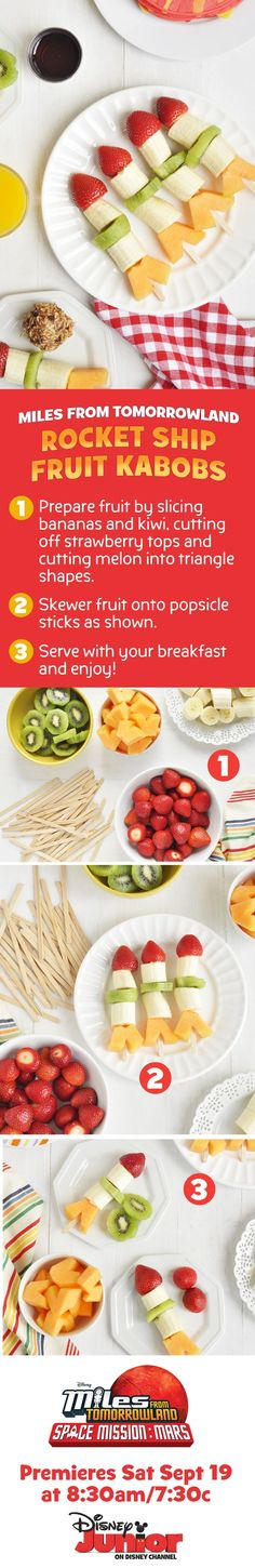 Blast off into space with these rocket ship fruit kabobs! A fun activity and a healthy snack for your kids to enjoy while they watch Miles From Tomorrowland on Disney Junior. Cheap Healthy Snacks For School Preschool Cooking, Space Preschool, Preschool Snacks, Cooking With Kids, Space Activities, Preschool Rocket, Healthy Snacks, Healthy Eating, Healthy Recipes