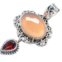 "Rose Quartz, Garnet 925 Sterling Silver Pendant 2"" PD543015"