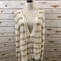 Ann Taylor LOFT LARGE Beach Sweater Linen Blend Striped V Neckline EUC #AnnTaylorLOFT #VNeck #Casual