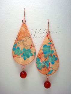 Exquisite combination of red, orange, and blue. Upcycled Orange Red Flower Postcard Earrings by MLBeckerDesign, $76.00