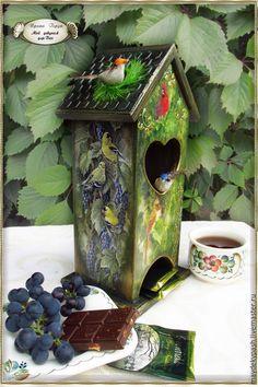 """Купить Чайный домик """"Райский сад"""" - чайный домик, чайный домик декупаж, домик для чая"""