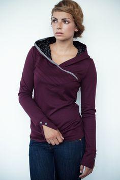 Hoodies - Jersey Hoodie - bordeaux rot - Biesen - ein Designerstück von stadtkind_potsdam bei DaWanda