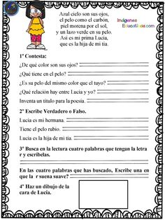 Spanish Worksheets, Classroom Labels, Reading Comprehension, Kids And Parenting, Acting, Preschool, Language, Math, Facebook