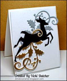 Vicki Dutcher: All I Do Is Stamp – Some Awesome Challenges! - 12/4/14 (Tim Holtz Sizzix: Reindeer Flight, MFT: Elegant Holly)
