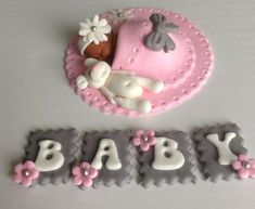 Baby shower cake topper fondant edible pink and grey baby shower theme baby girl on luulla