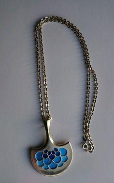 David Andersen Vintage Norwegian Sterling Silver and Enamel Pendant Thors Hammer