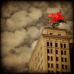 Flying Red Horse Dallas Pegasus Fine Art by 3LPhotography on Etsy
