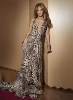 COTE D'AZUR, May 18, 2010 - Jennifer Lopez wearing a long, silk mousseline jaguar-printed Roberto Cavalli gown with a small train. It featured Swarovski crystal embroidery and a plunging neckline.