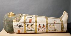 "The sarcophagus of Madja, ca. 1450 BC. The tomb was discovered in a cemetery in West Thebes overlooking the valley of Deir el-Medina. In this tomb the coffin was the only support for the texts and scenes of offerings that the Egyptians believed to be essential to the deceased's well-being in the afterlife. No titles accompanied the name of the deceased—Madja—which is strange, as every woman of a certain social status was at least referred to as ""mistress of the house"""