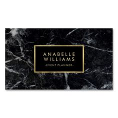 Trendy Black Marble Texture Faux Gold Foil Business Card