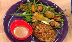 Crispy Bacon Breadcrumb Chicken and Roasted Smoky Green Bean and Potatoes - Watch the video, which will tell you what to do with the chicken! :)