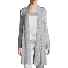St. John Collection Tile Lattice Knit Artisan Cardigan ($1,270) ❤ liked on Polyvore featuring tops, cardigans, oyster, st. john, long sleeve knit cardigan, open front knit cardigan, ribbed knit cardigan and ribbed knit top