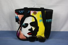 shoulder bag pop art oilcloth with black cotton by GoossensBags