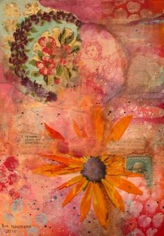 Pink Collage by Kim Naumann - Curiouser & Curiouser Designs Art Du Collage, Mixed Media Collage, Flower Collage, Collages, Art Journal Pages, Art Journals, Art Graphique, Mix Media, Illustrations