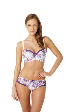 97b9737fa530f The Panache Fern Balcony Bra is made in a floral print with a lace trim at  the top of the cups. The Panache Fern bra is underwired with adjustable  straps.