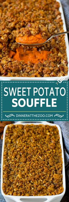 This sweet potato souffle is a creamy blend of sweet potatoes and spices topped with a brown sugar and pecan streusel. Sweet Potato Souffle, Sweet Potato Casserole, Sweet Potato Recipes, Thanksgiving Recipes, Fall Recipes, Holiday Recipes, Beef Casserole Recipes, Casserole Dishes, Best Side Dishes