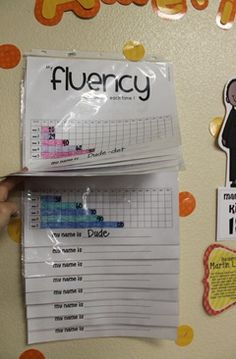 Displaying fluency growth charts. Kids like to see where they have been and where they need to go...charts are awesome to show that. Gives them a goal to work on!
