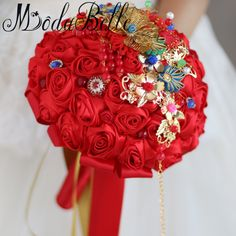 >> Click to Buy << modabelle Chinese Style Red Wedding Bouquets Bouquet De Mariage Silk Brooch Wedding Flowers Bridal Bouquets Buque De Noiva #Affiliate