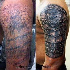 #coveruptattoo#shieldtattoo#coverup#calcutta#ink#tattoo#armourtattoo