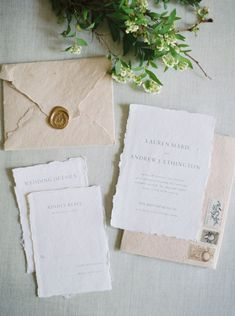 Ink & Press Co. by Mikyla Marie || wedding invitation, gold foil, calligraphy, typography, type, vintage, ethereal, fine art, clean, modern, traditional, classic, classy, elegant, neutral, rsvp, details, invite, invitations, suite, ring, envelope, address, vintage stamps, wax seals, handmade paper - Photography by Kate Ignatowski