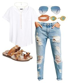 """""""Untitled #149"""" by maggiejanexo on Polyvore featuring BDG, H&M, Gorjana, Chan Luu, Steve Madden, Ray-Ban and BCBGMAXAZRIA"""
