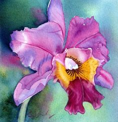 Watercolor Paintings of Orchids | ORIGINAL MINI PAINTING AUCTION PURPLE ORCHID BY COLLEEN SANCHEZ