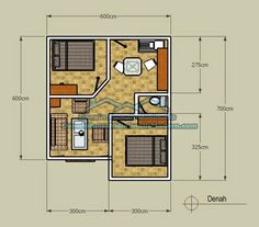 denah rumah minimalis type 21 Small House Floor Plans, Simple House Plans, Beautiful House Plans, Minimal House Design, Small House Design, Home Building Design, Home Design Plans, 20x40 House Plans, House Plans With Pictures