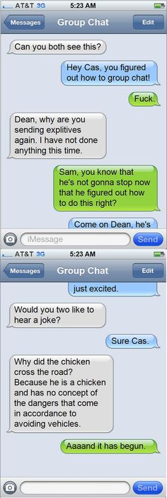 Castiel discovers group chat