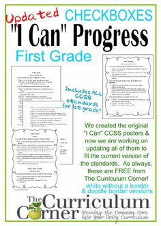I Can CCSS Statements Progress Checklists for 1st Grade by The Curriculum Corner FREE