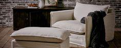 Neva Chair | 70% Feather Fill Armchair w/ Slipcover Design