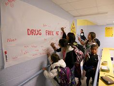 Cool idea for Red Ribbon Week from jyjoynercounselor.blogspot.com
