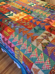 Flying Geese quilt with Kaffe Fassett fabric by Ann Dickerson: https://www.pinterest.com/adicker709/my-quilts/