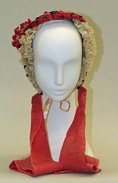 "1862 American straw bonnet, height 9.5""x7"" civil war era fashion"