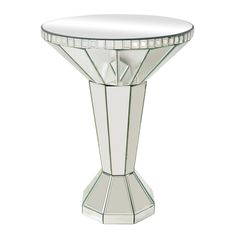 Individual mirror pieces are hand cut and beveled to create this multi-dimensional side table.  https://joyfulhomegoods.com/collections/tables/products/sterling-industries-mirrored-side-table-114-70 Free gift for our Pinterest fans! $5 gift card, use code PIN5 to redeem!