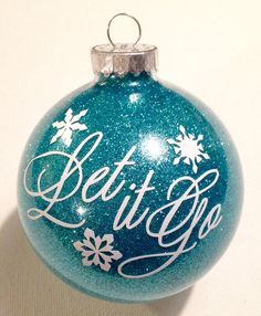 Frozen Inspired Christmas Glitter Ornament Let It Go Snowflake Crown 3.25 Glass Ball    I will make this and mail it to you within 5 business days of