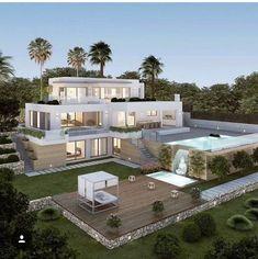 3d House Plans, Dream House Plans, Mansion Houses, Dream Mansion, Modern Houses, Modern Mansion, Sims 4 Modern House, Miami Beach House, Luxury Mansions