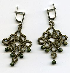 "Earrings lace ""frivolite"":: A lace ""frivolite"" of Elena Ignatova, master of folk creation, Ukraine, Kharkov :: Jewellery knot shuttle lace of frivolite (schiffchenspiize), ear-rings, bangles, necklace, natural stone and skin with a lace, style ""The Gothic Black-art"""