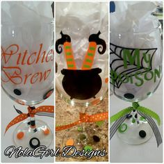 SALE Halloween wine glasses, trick or treat, halloween party, October, vinyl decorated wine glasses, party favor, fun halloween gift