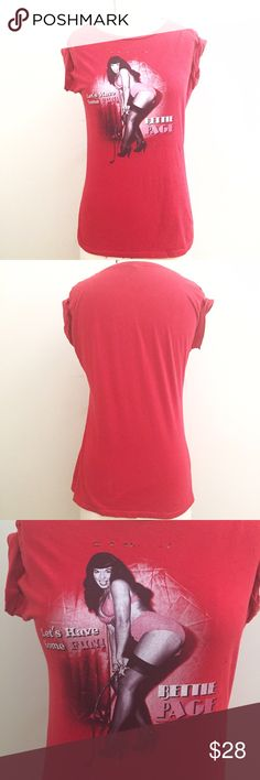 Red Vamp & Distressed Betty Paige Vintage Shirt Cool distressed graphic t- shirt with holes and wear. Fits a size small. Vintage Tops Tees - Short Sleeve