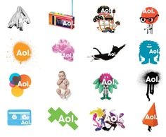 Eventually the Aol scheme of 2009 (also by Wolff Olins) took this to its inevitable conclusion and turned this inside out with an 'invisible' logo made visible only by a huge palette of images that appearing behind it.