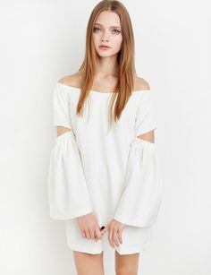 Ivory Bell Sleeve Off The Shoulder Dress