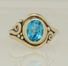 R1375- 14k Yellow Gold Ring with 8x10 mm Swiss Blue Topaz from Brazil. Handmade One of a Kind Artisan Jewelry Made in the USA.