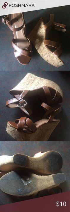 """Tan cork platform wedge pleather sandals Bottoms are dirty and there's a small scuff on right shoe-- otherwise EUC. Heel 5"""", platform 1.5"""". Size is British 8/42 Shoes Wedges"""