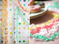cute crepe paper garlands.. just cut strips and twist and fold each little bit repeatedly..